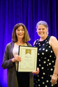 Shelagh Davies, MSc'75 (Left) accepting her UBC Alumni Builder Award at the Speech Audiology and Speech Sciences 50th Anniversary Celebration on September 13, 2019.